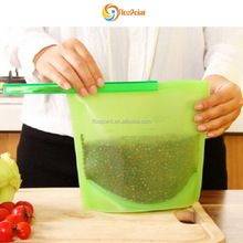 Manufacture OEM Reusable Vacuum Freezer Fresh Silicone Food Bag with ziplock, GREEN