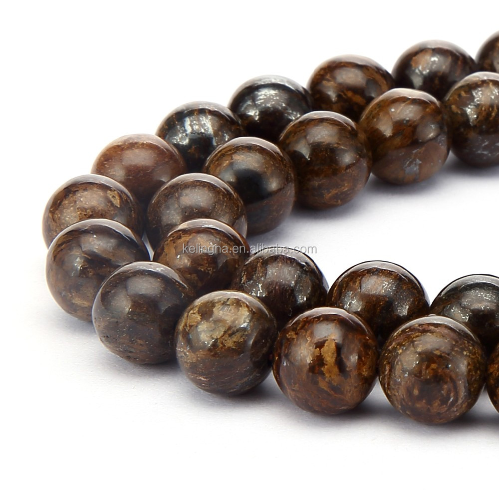 Nice Smooth Round Bronzite Gemstone Loose Beads