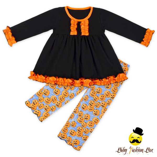 66TQZ518 Girl Kids Halloween Boutique Outfits Baby Girls Knit Cotton Dress And Legging Clothes Set Giggle Moon Remak Outfit