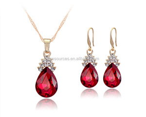 2016 fashion wholesale colorful crystal pendant rose gold plated necklace earring jewelry set