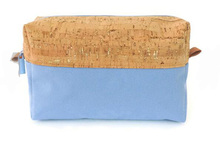 Large Cork and Canvas Makeup Bag Metallic Cosmetics Case Cotton Toiletry pouch