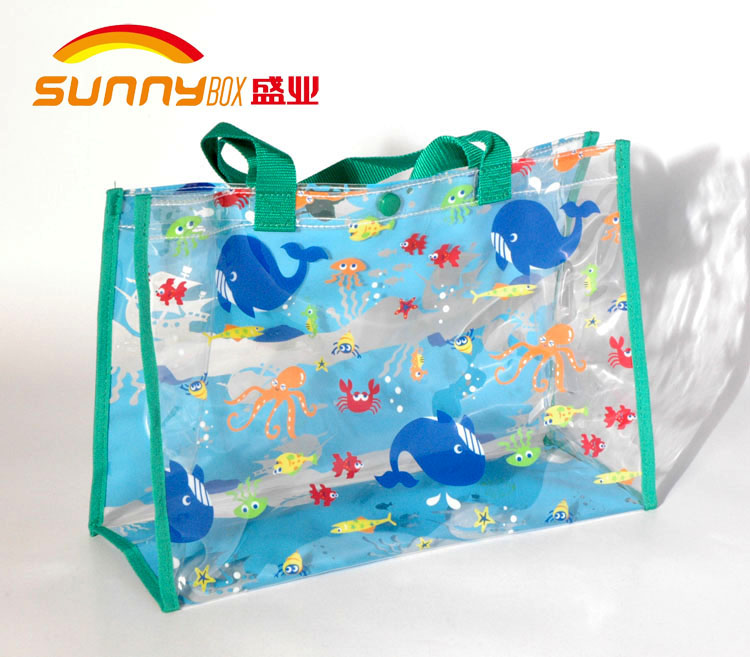 Top selling Multi color pvc tote branded handle foldable bag with Plastic Button