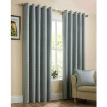 Stylish Semi-Plain Textured Lined Eyelet Curtains For Bed Room
