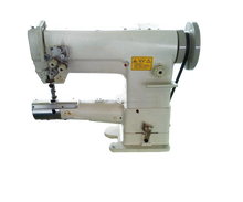 Triple feed with needle ,press foot and feed dog double needle unison feed cylinder sewing machine