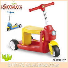 Hight quality plastic 2 in 1 baby car 3 wheel foot pedal kick scooter