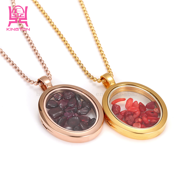2016 Handmade Golden Round Artificial Stone Floating Charm Necklace