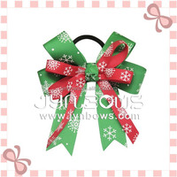 red ribbon green ribbon printed white snow winter festival pony large christmas bow Hair ties