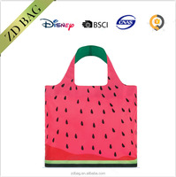 eco-friendly design tote polyester folding shopping bag with zipper pouch