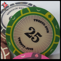 customized professional casino tournament ceramic chip 39mm 10g poker chips with UV printing