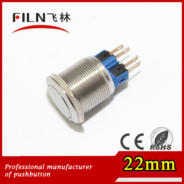 22mm stainless steel pushbutton switch with illuminated green led light horn switch momentary