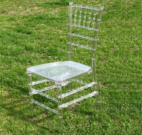 Hot sell wholesale china cheap sale clear/black/crystal plastic resin chiavari chair for weddings