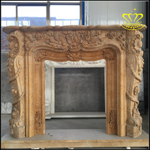 Supply high-quality european-style stone marble fireplace Character elegant sculpture