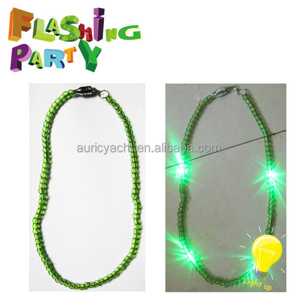 led flashing bead necklace for mardi gras