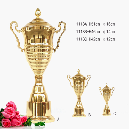 Prize trophy metal trophy cups withh crystal trophies and plastis cup