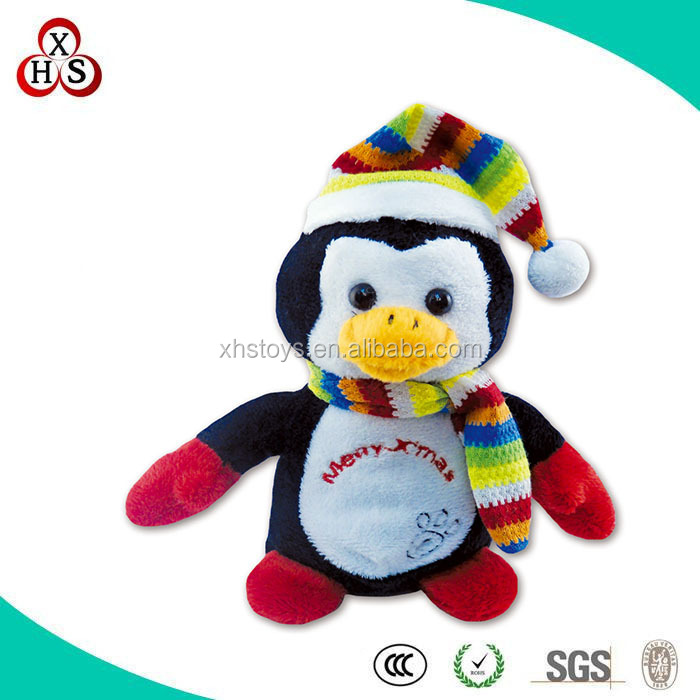 hot sale christmas decoration toys plush toy penguin with scarf