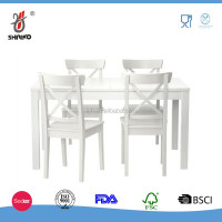 5pc Dinning Set Table with 4 Chairs, Soild Wood Lvory White Finish