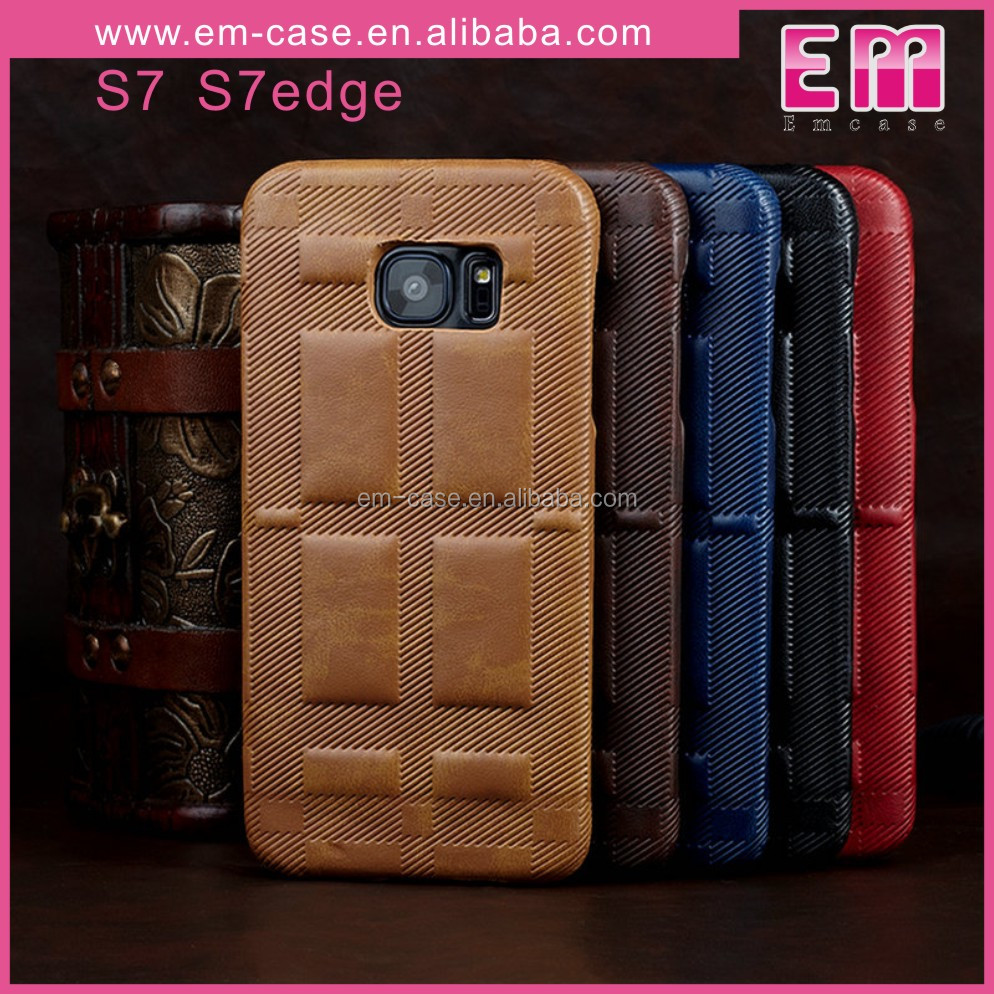 High Quality For Samsung S7 S7 Edge Retro Leather Back Hard Case