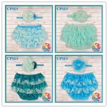 New Arrival Fashion Wholesale Fresh Colors Lace Baby Toddler Girl Bloomers With headband Set