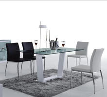 Modern elegant dining room furniture table set white lacquer 6 seater dining tables tempered glass dissassemble dining table