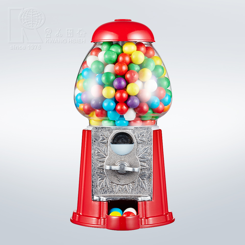 Kwang Hsieh Small Red Metal Gumball Machine Dispenser