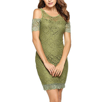 Women Floral Lace Evening Cocktail Pencil Dress