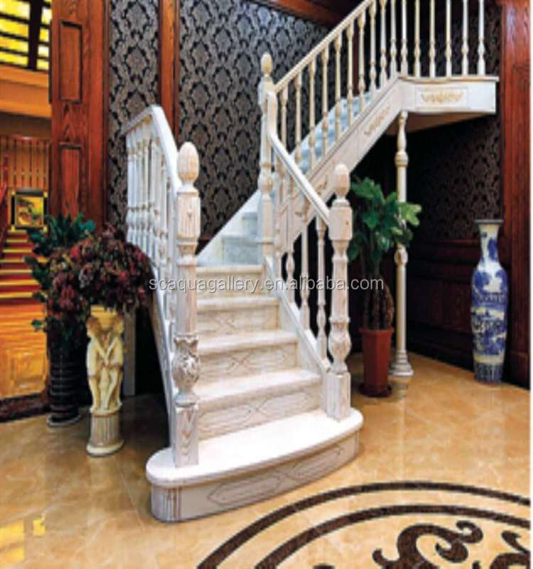 Chinese White Painting Wooden Interior Stairs