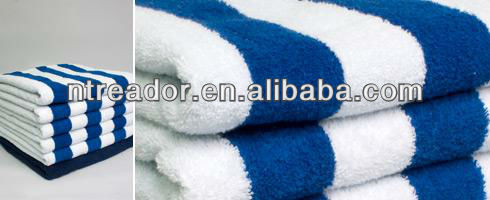100% cotton pool towel, hotel cotton pool towel with blue stripe