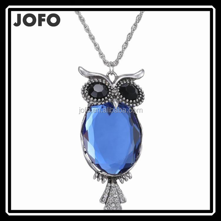 New Arrival Fashion Blue Jewelry Owl Pendant Necklace For Women Statement Necklace Hot Sale