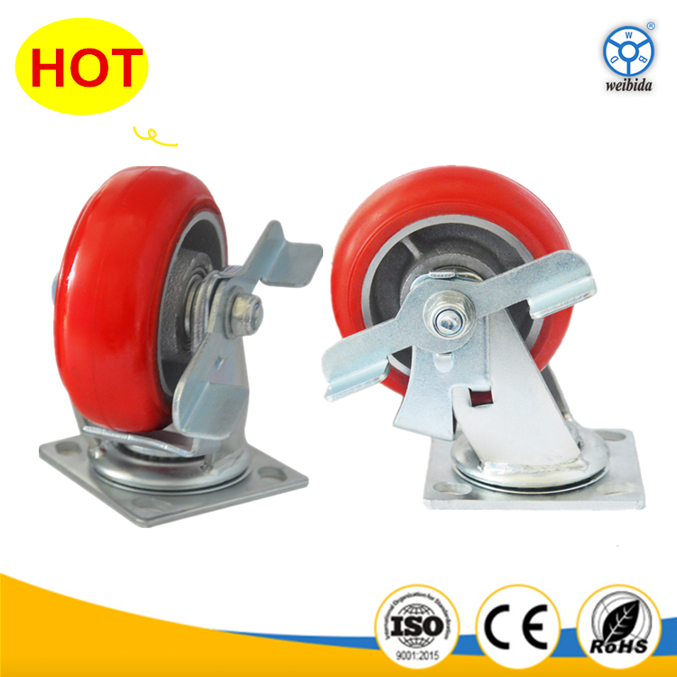 American type iron cast arc pu heavy duty caster wheels with side brake