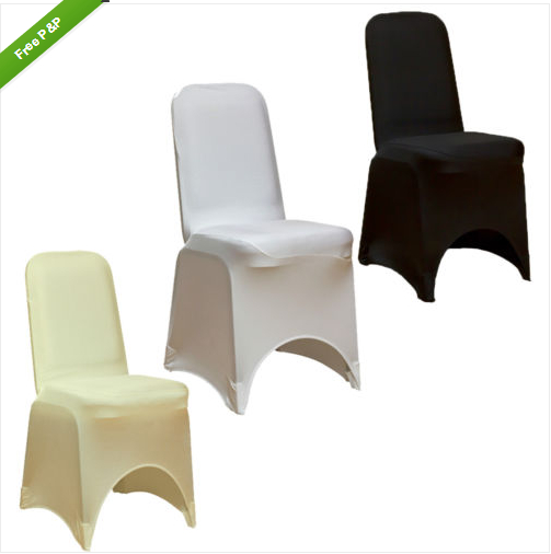 FACTORY SUPPLY FREE SHIPPING SPANDEX LYCRA HOTEL CHAIR COVERS AVAILABLE IN WHITE, BLACK, IVORY, BRAND NEW SEALED