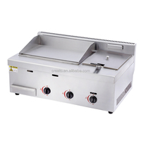Stainless steel LPG Gas grill griddle with deep fryer