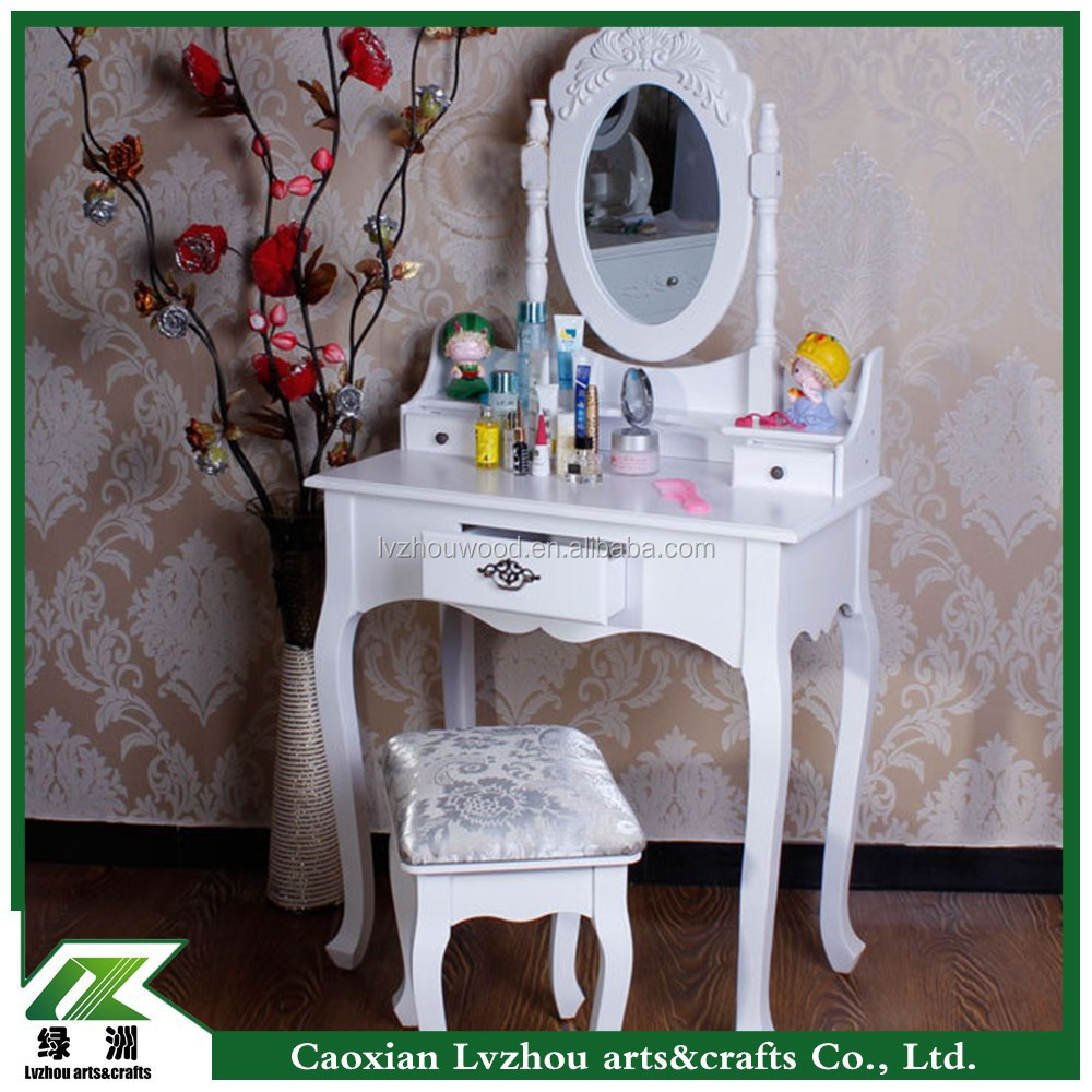 white fashionable wood dressing table with mirror
