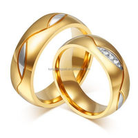 plated yellow gold couple love ring, gold couple rings for women men