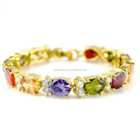 yellow gold gemstone bracelet fine jewellery 24 carat zirconia bijuteria