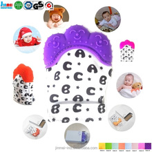 China Waterproof FDA Soft Silicone Baby Teething Mittens, bay mitt ,Bitten toy Teether for baby soothing teething JM-BT169L45