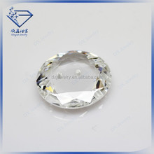 2015 best price qulity coin shape faceted cut white light holed loose glass stone