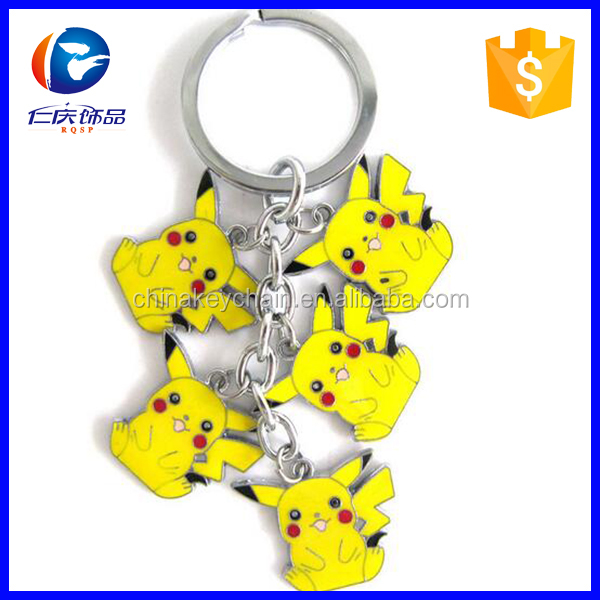 Classic Japan Anime Cartoon Pokemon Pocket Monsters Keychain Alloy Animal Keyring Metal Figures Key Chains