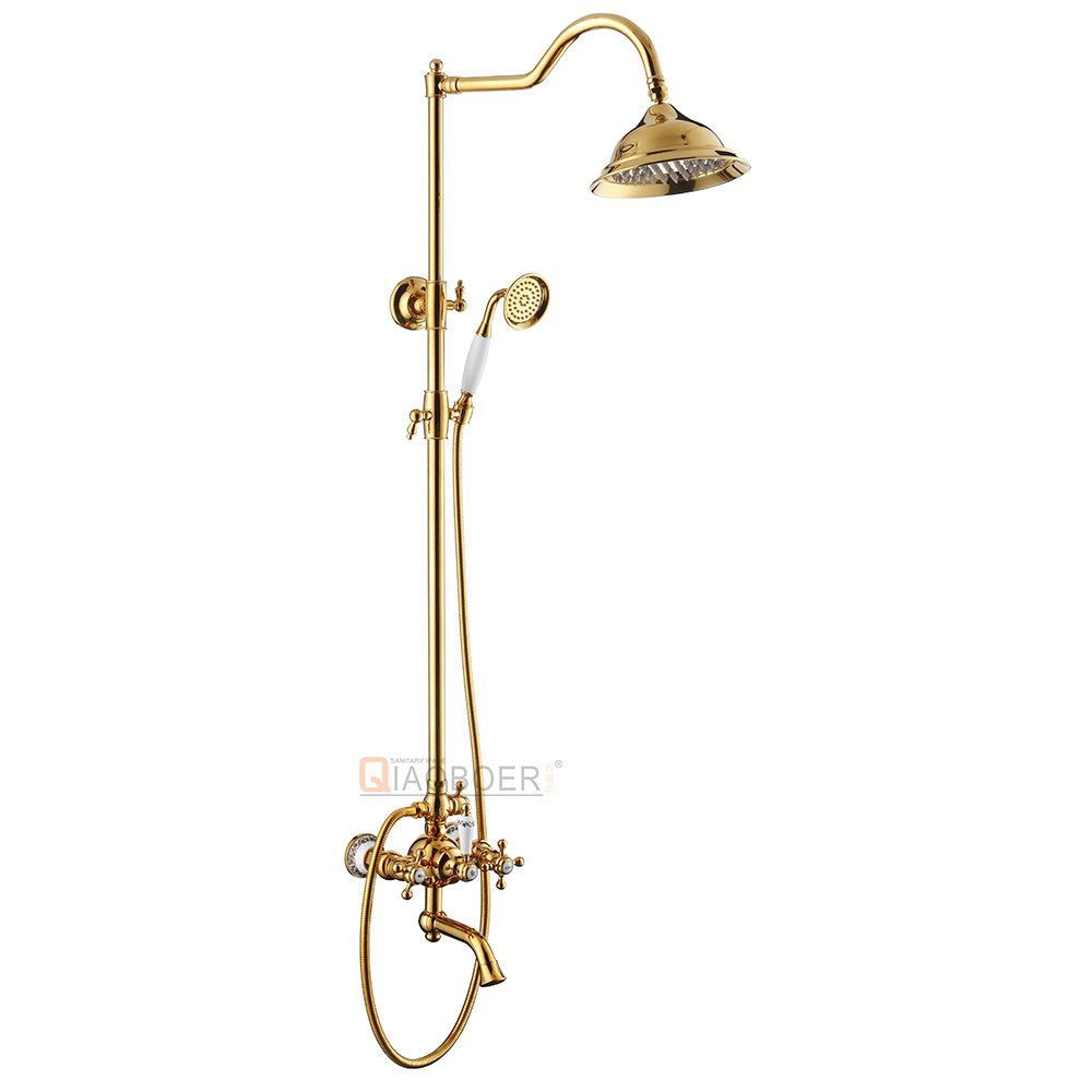 Sanitary ware shower set mixer gold mixer,surface mounted shower solid gold faucet,Ti-PVD shower water mixer