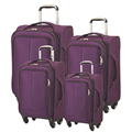 zipper purple soft polyester travel bag trolley luggage set