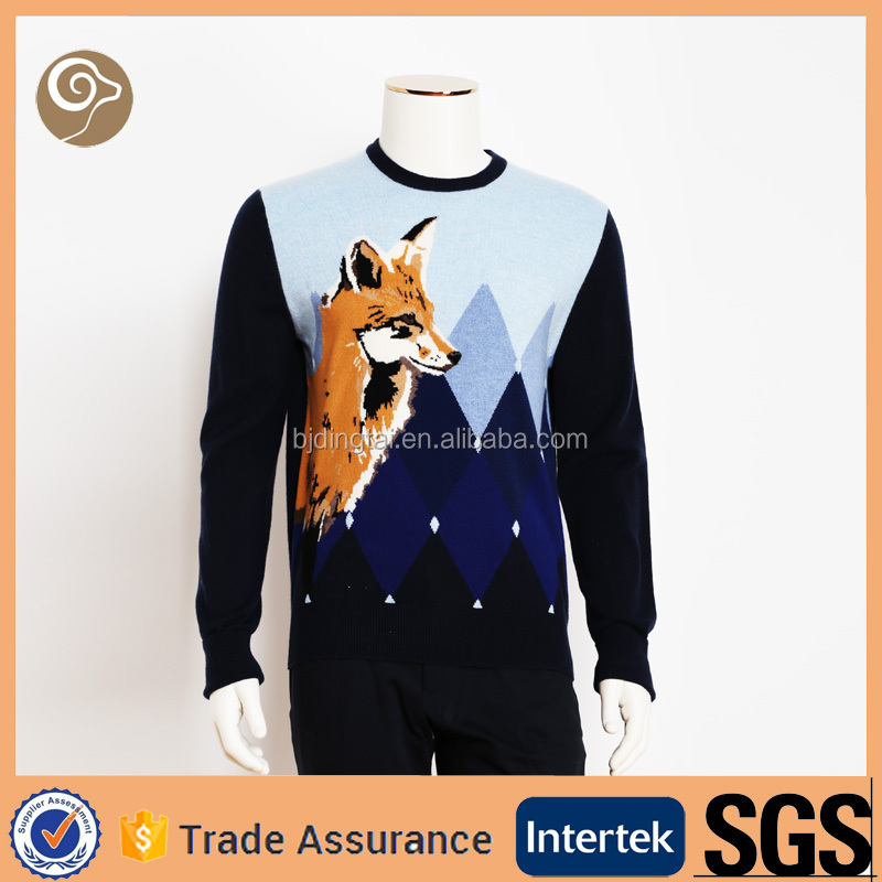 Knitted intarsia wholesale wool sweater design for boys