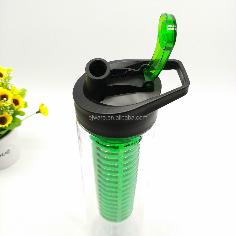 BPA free tritan material infusion water bottle juice tumbler with colorful infuser