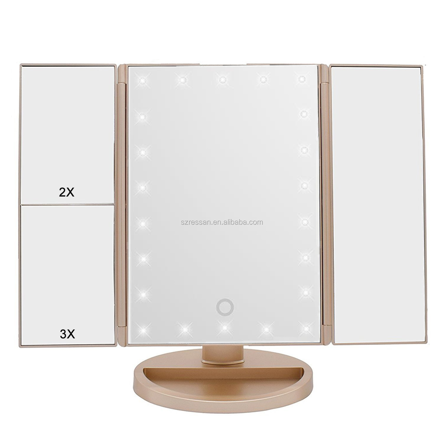 Lighted Makeup Mirror with 22 LED Lights Touch Screen 1x 2x 3x 10x Magnification Vanity Mirror Rose Gold cosmetic mirror