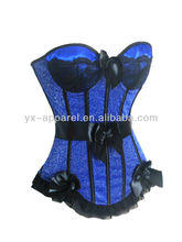 blue plus size corsets and bustiers with ribbon trim