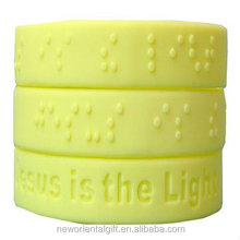 Embossed braille silicon rubber wristbands