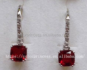Sterling silver Lab Created Ruby lever back Earring for women