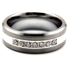 Luxury Best Comfort Fit 8MM Tungsten Ring 7 CZ Center Brushed & Polish Mens Wedding Band Fashion Jewelry Big Size 7-14 TU059R