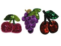 mini cute designs fruit sequin embroidery patches and badges