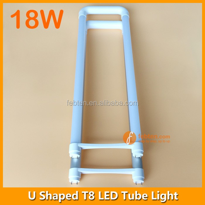 High luminous t8 led u bend tube light 18w 110LM/W milky clear PC