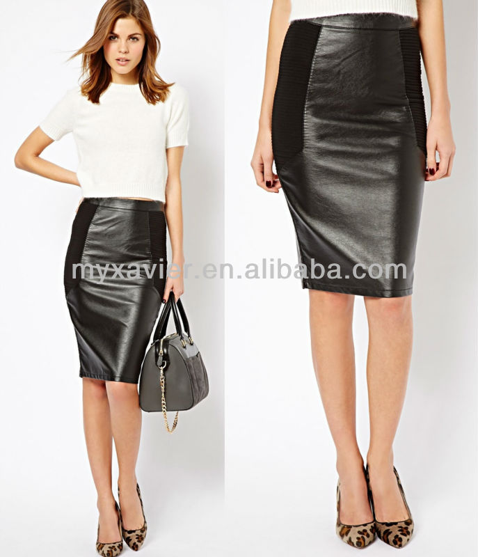 Leather Look Mix Pencil Skirt,Women Leather Skirts - Buy Women ...