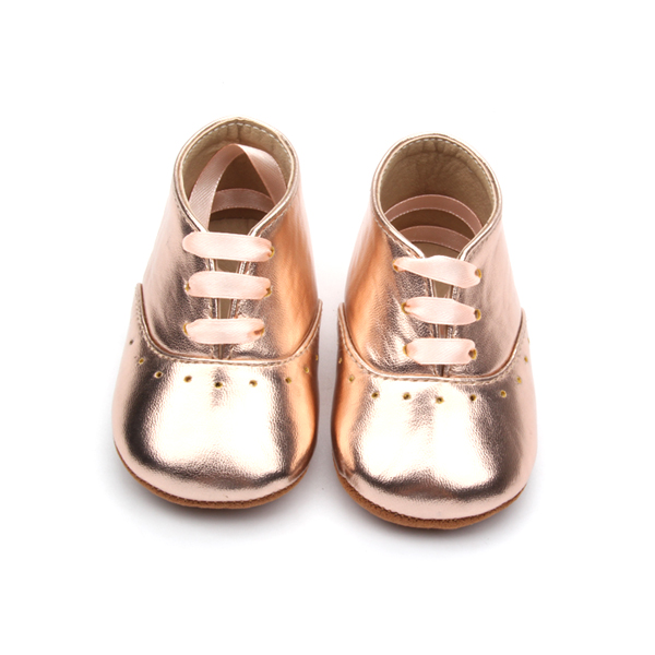 whlesale rose gold leather infant girl moccasins mary jane baby shoes